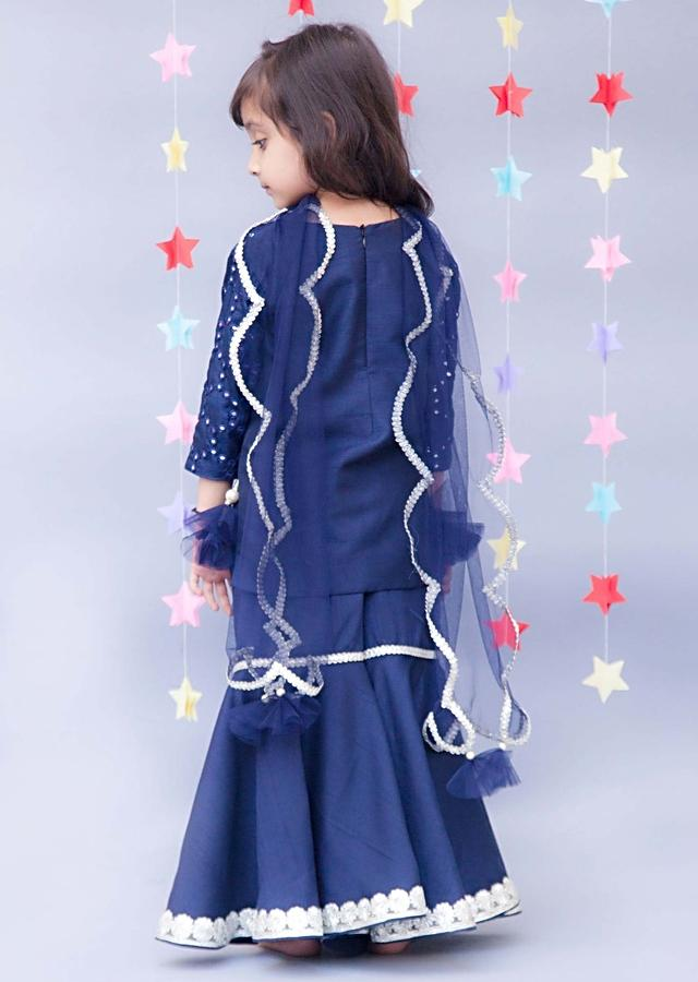 Dark Blue Sharara Suit With Mirror Work In Honey Comb Pattern By Fayon Kids