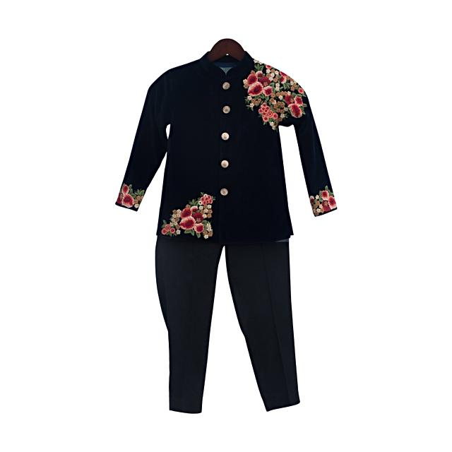 Dark Blue Ajkan In Embroidered Velvet by Fayon Kids
