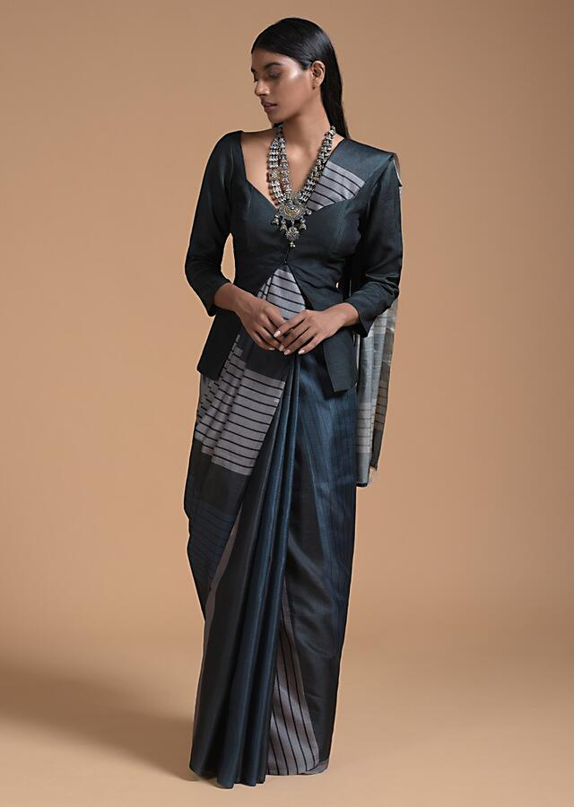 Dark Blue, Green And Silver Saree In Cotton With Striped Print All Over Online - Kalki Fashion