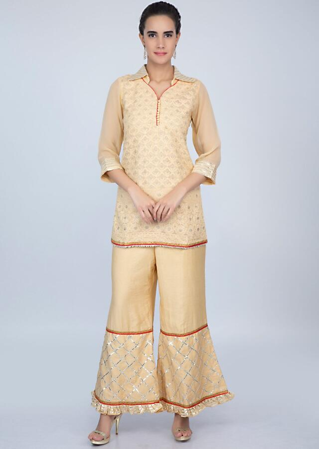 Dark Cream Suit With Lucknowi Embroidery And Matching Sharara Pant Online - Kalki Fashion