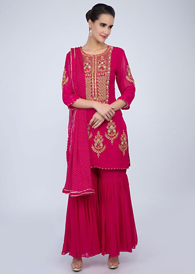 Dark Fuchsia Pink Sharara Suit With Embroidery And Butti Online - Kalki Fashion