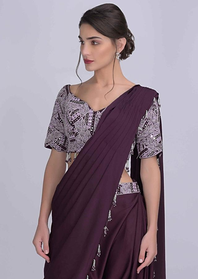 Dark Grape Purple Dhoti Saree In Satin With Matching Crop Top Online - Kalki Fashion