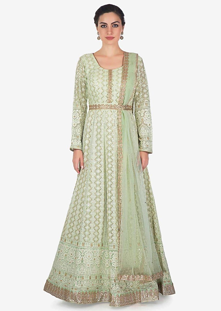 3424a250acc16 Pista green anarkali suit in chiffon with thread work and sequin work only  on KalkiMore Detail