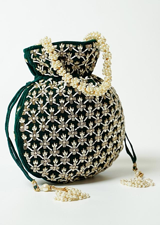 Dark Green Potli Bag In Velvet With Cut Dana And Beads Embroidered Jaal Design By Shubham