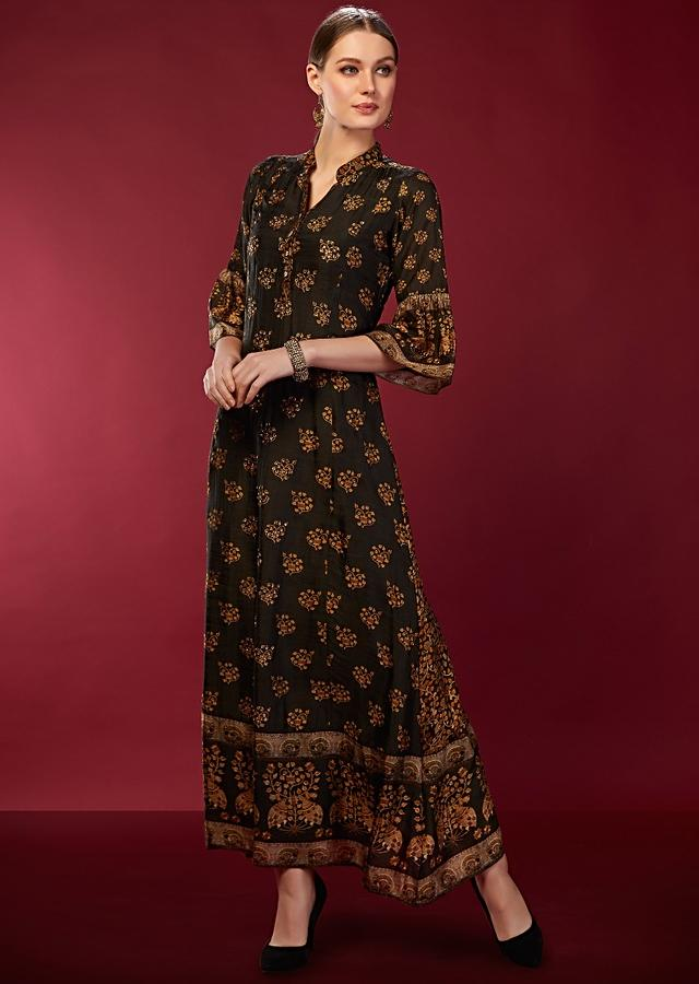 Dark Green Tunic With Digital Printed Buttis And Ruffle Sleeves Online - Kalki Fashion