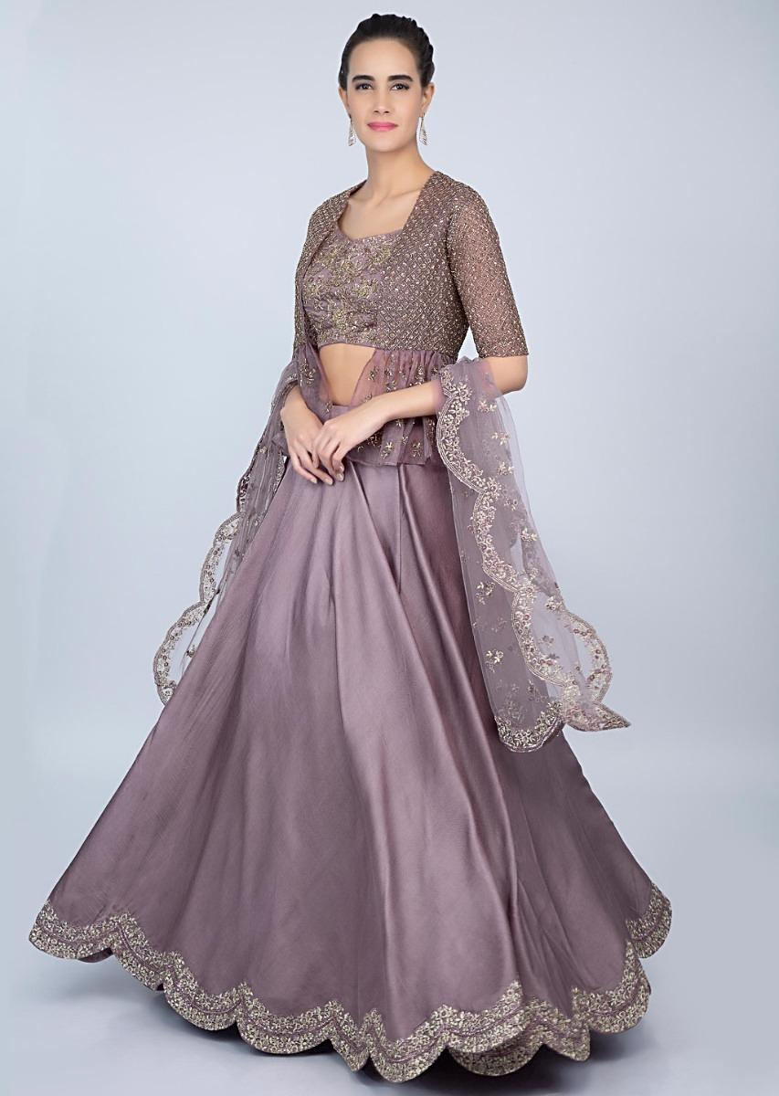Dark lilac dupion lehenga with embroidered crop top and organza jacket only  on kalkiMore Detail 7b03a1c26