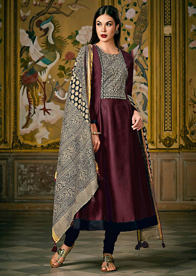 Dark Maroon Anarkalki Suit In Silk Featuring With Printed Placket Online - Kalki Fashion
