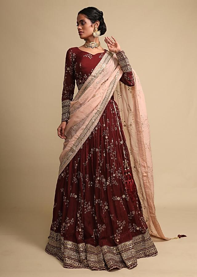 Dark Maroon Lehenga And Crop Top With Zari Embroidered Floral Jaal And A Pink Dupatta Online - Kalki Fashion