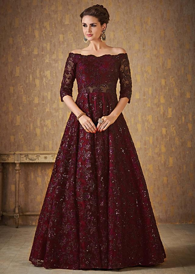 Dark Maroon Off Shoulder Gown Adorned In Embossed Thread And Sequin Embroidery Online - Kalki Fashion