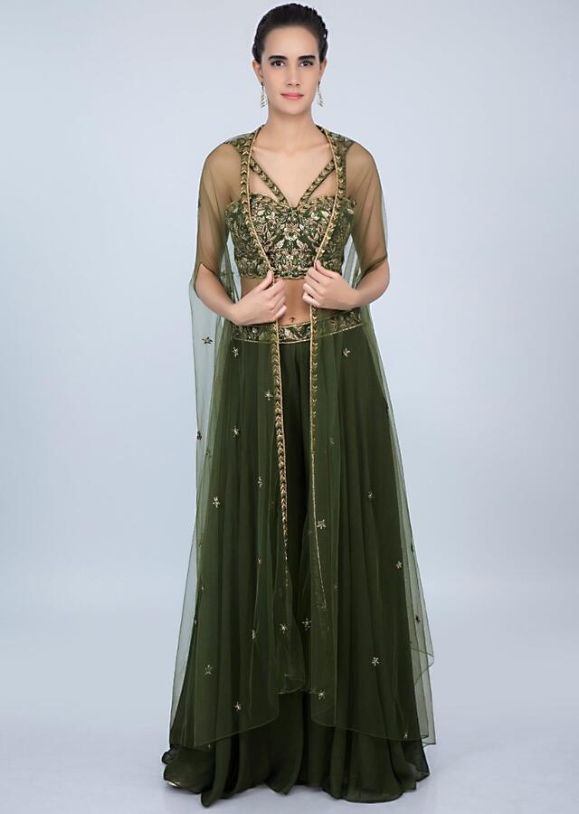 Dark Olive Green Crop Top With Embroidery Work And Palazzo With Net Jacket Online - Kalki Fashion