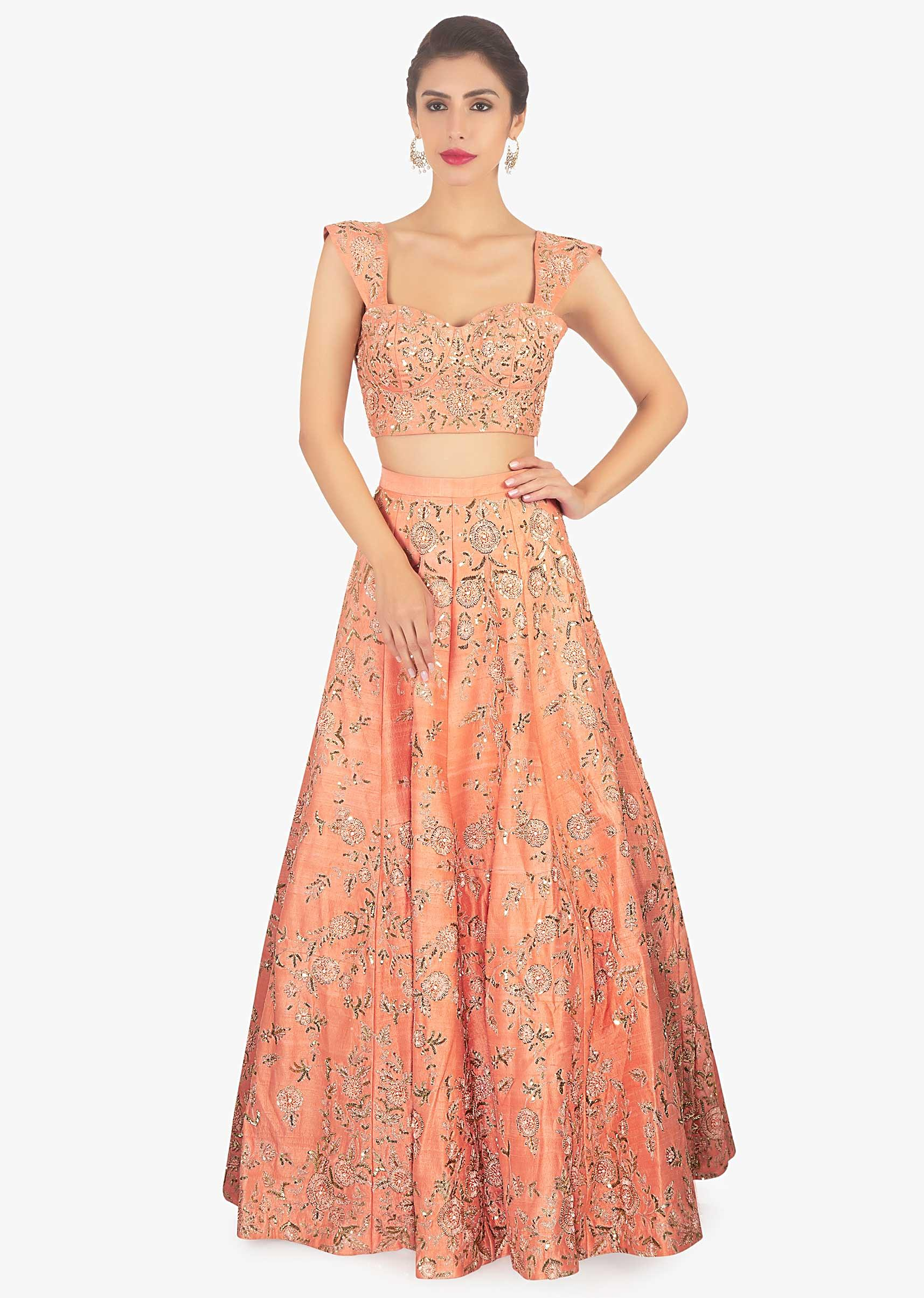 728648ddfc4fc6 Dark peach lehenga set paired with a fancy net jacket only on KalkiMore  Detail