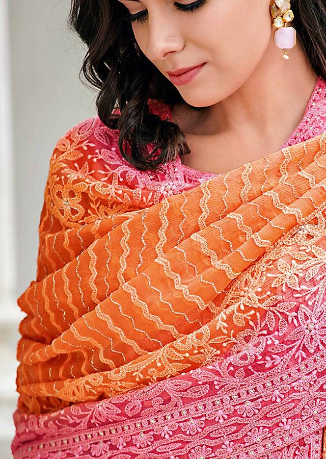 Dark Peach Straight Suit In Cotton Silk In Paisley And Motif Embroidery Online - Kalki Fashion