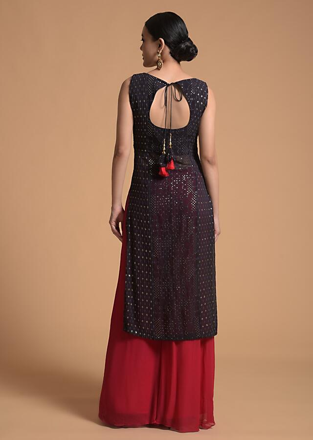 Dark Purple Straight Suit In Sheer Georgette With Lucknowi Work And Contrasting Fuchsia Palazzo Pants Online - Kalki Fashion