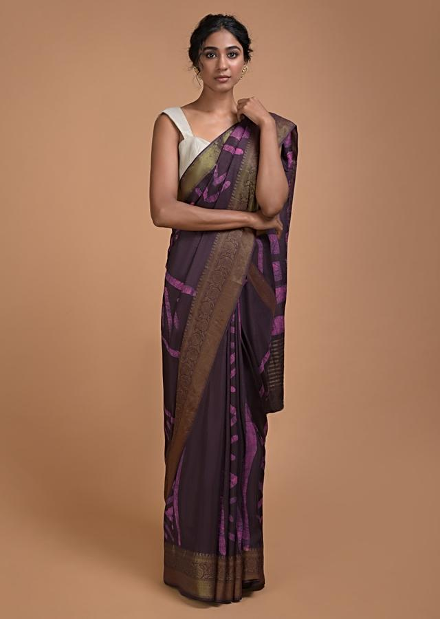 Dark Raisin Purple Saree In Cotton Silk With Batik Print In Tribal And Geometric Pattern Online - Kalki Fashion