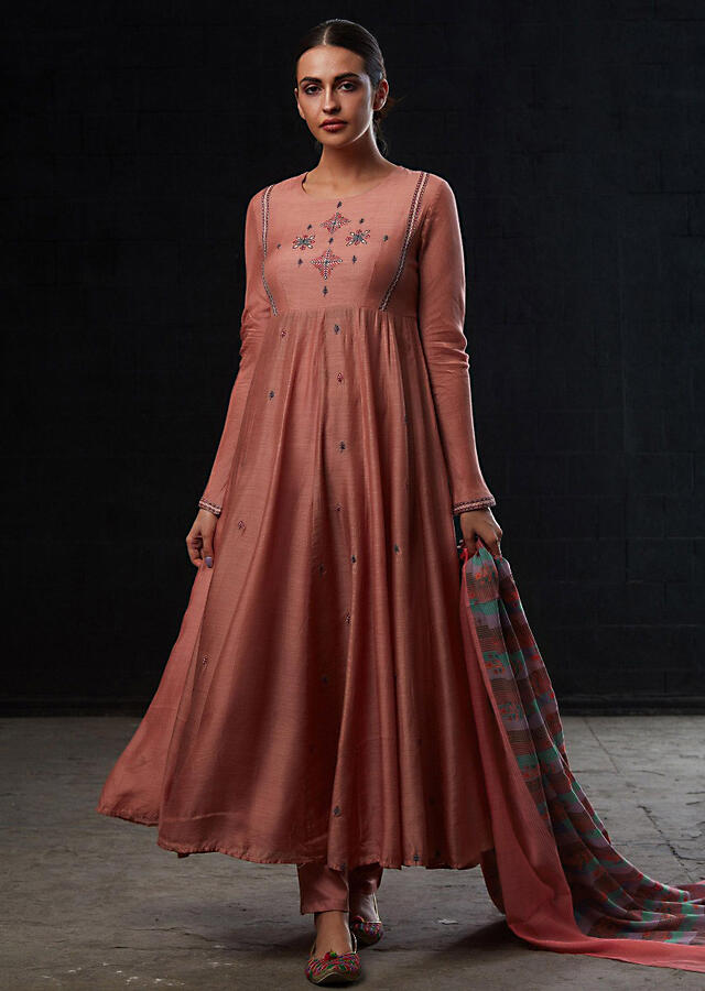 Dark Rouge Pink Anarkali Suit With Resham Embroidered Butti On Placket And Alternate Kali Online - Kalki Fashion