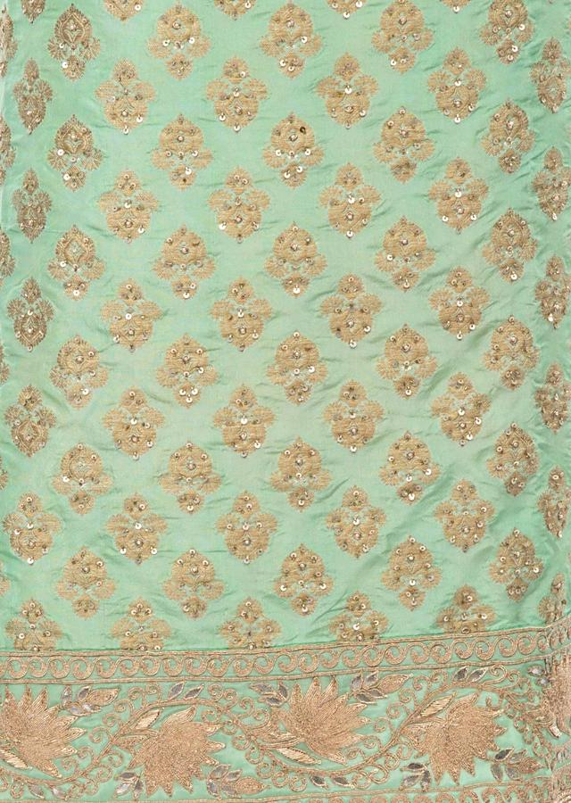 Dark Sea Green Unstitched Suit Set In Brocade Silk With Embroidered Highlight Online - Kalki Fashion