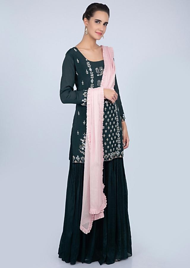 Dark Teal Blue Suit With Embroidery Work And Crushed Palazzo And Pink Dupatta Online - Kalki Fashion