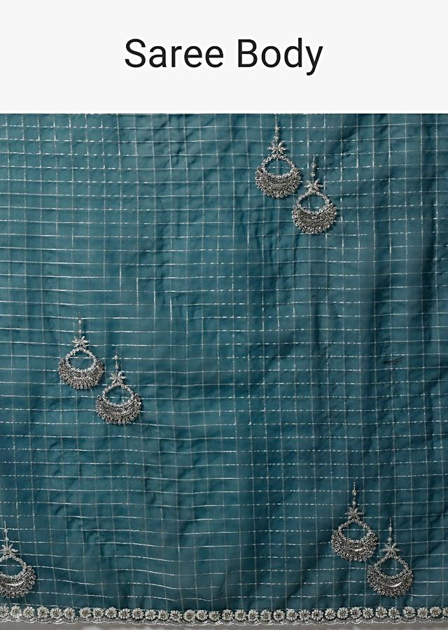 Dark Teal Blue In Organza With Woven Checks And Stone Embellished Buttis Along With Unstitched Blouse Online - Kalki Fashion