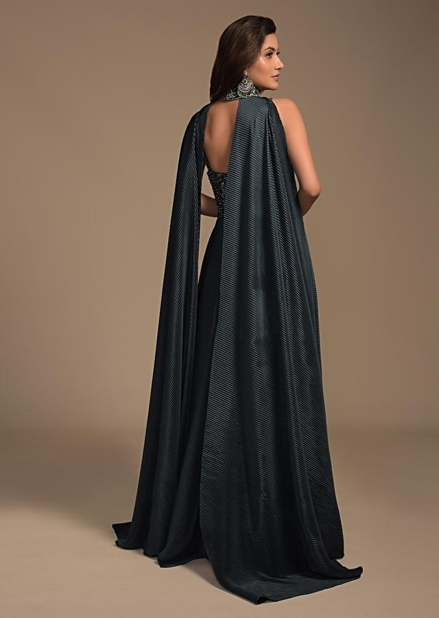 Dark Teal Green Indowestern Gown In Crushed Lycra With Embellished Bodice And Fancy Cape Online - Kalki Fashion