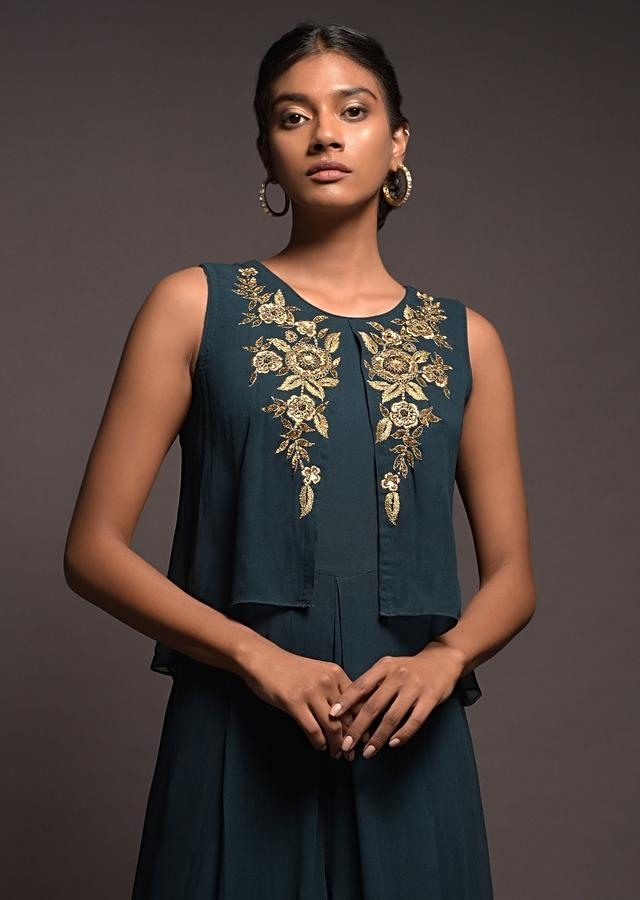 Dark Teal Jumpsuit In Georgette With A Layered Bodice And Zari Embroidered Floral Motifs Online - Kalki Fashion