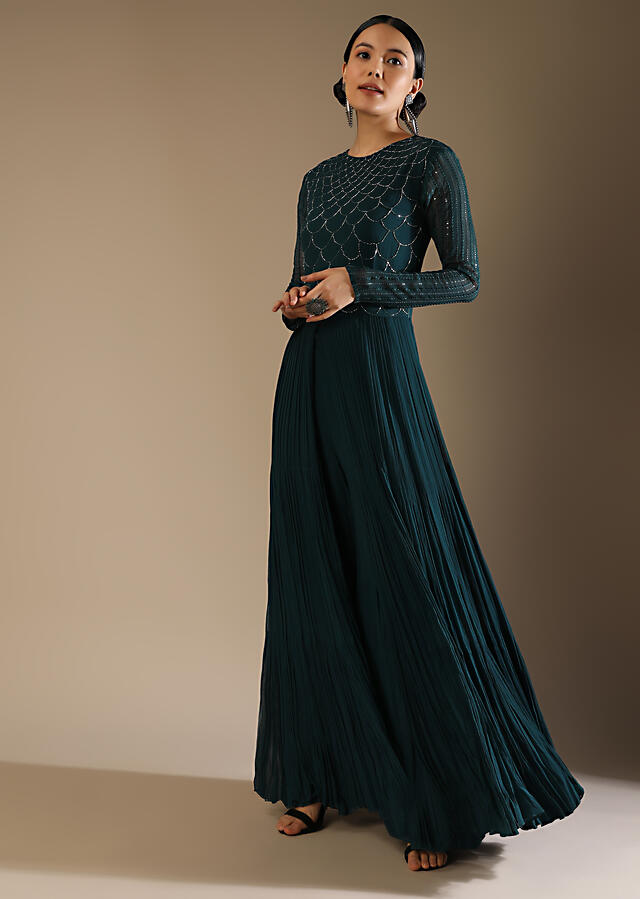 Dark Teal Palazzo Suit With A Long Slit Top Adorned In Cut Dana Work In Scallop Design Online - Kalki Fashion