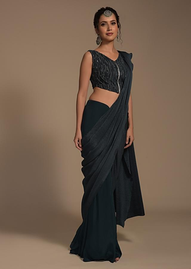 Dark Teal Ready Pleated Saree In Crepe With Crushed Lycra Pallu And Embroidered Blouse Online - Kalki Fashion
