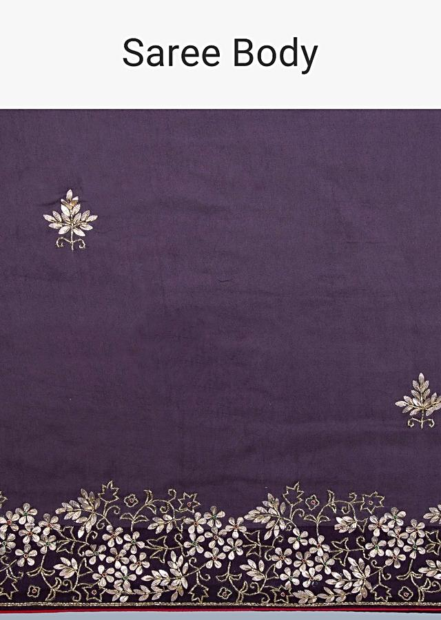 Dark Violet Saree With Floral Embroidered Butti And Border Online - Kalki Fashion