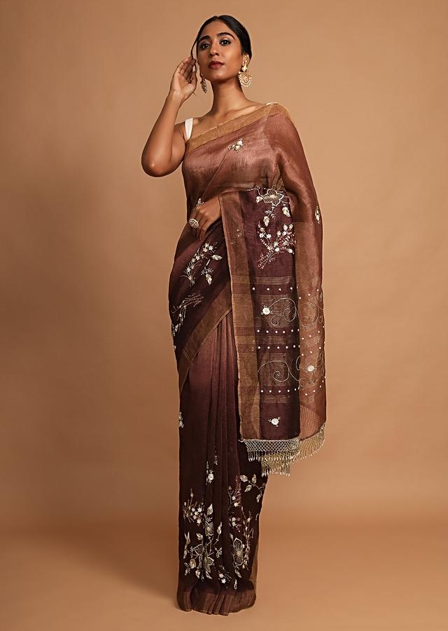 Dark Wine Saree In Linen With Pearls And Sequins Embroidered Floral Motifs Online - Kalki Fashion