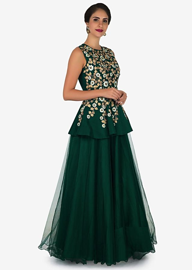 Dark Green Gown In Taffeta Crafted In Resham And Zari Embroidered Work Online - Kalki Fashion