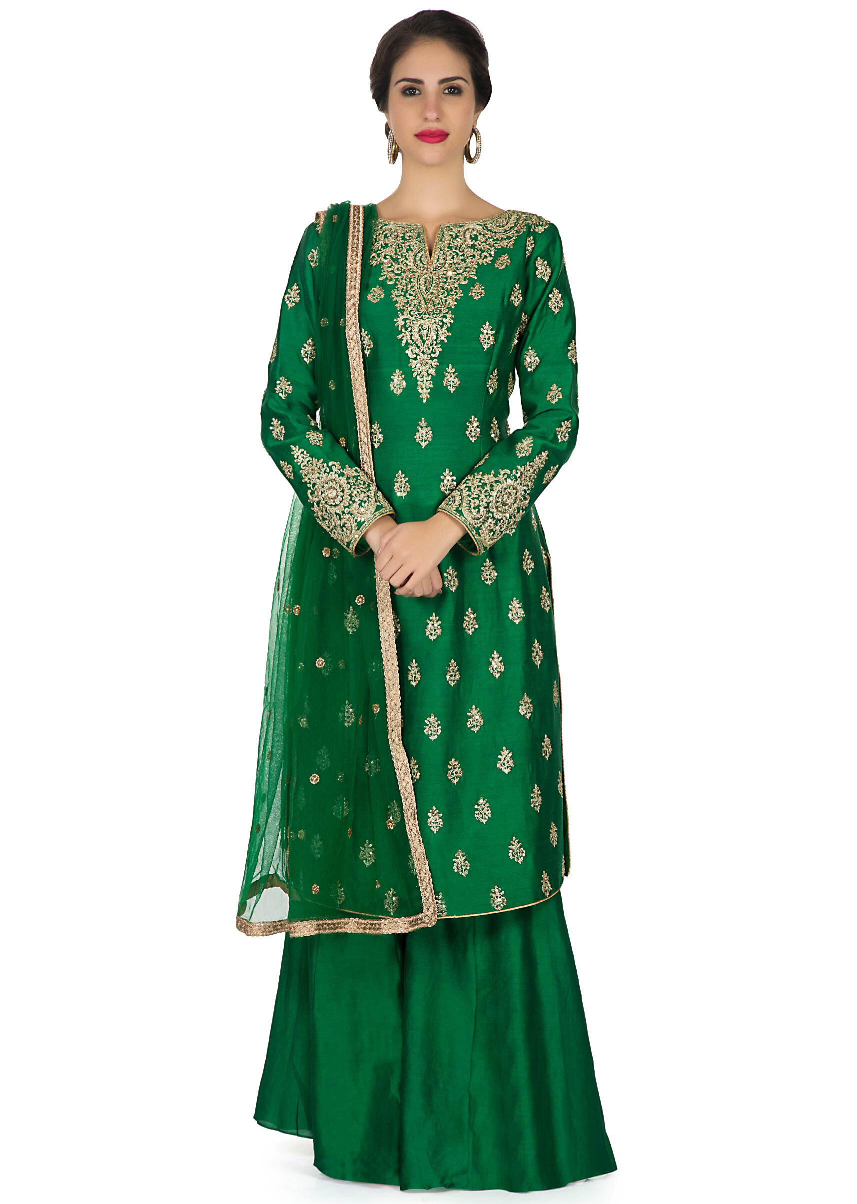 b0c0f9ddb3 Dark green palazzo suit embellished in zari embroidery only on KalkiMore  Detail