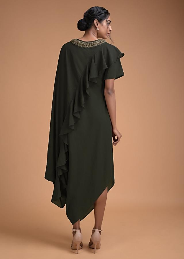 Dark olive Fancy Kaftan Tunic With Frill And Cowl Details Online - Kalki Fashion