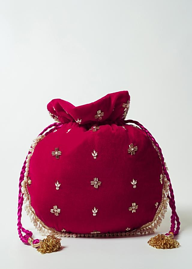 Dark Pink Potli Bag In Velvet With Cut Dana And Beads Embroidered Jaal Design By Shubham