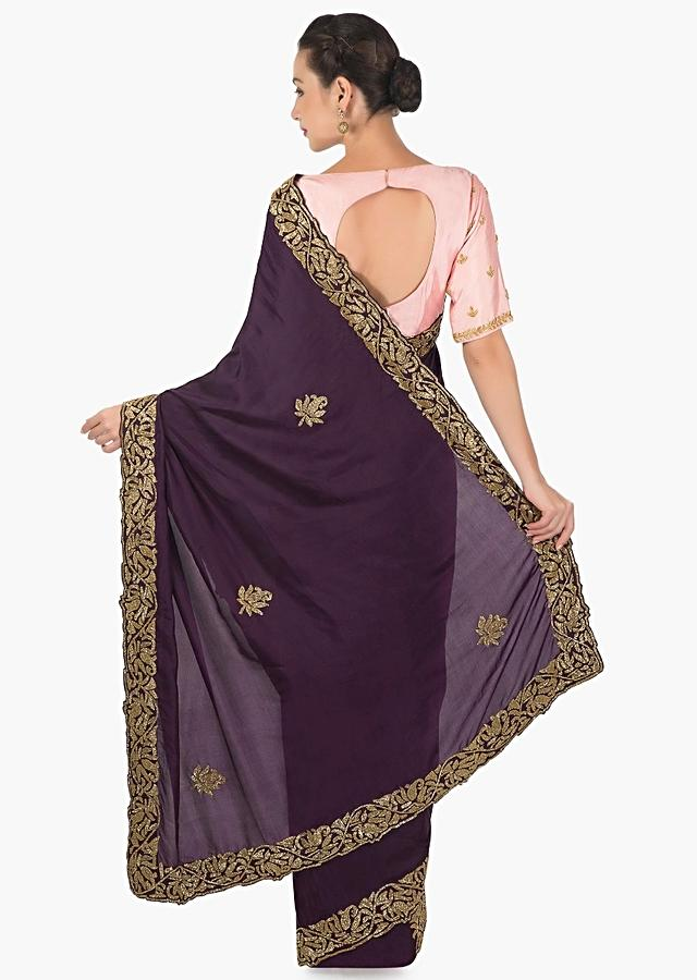 Dark Purle Saree In Satin With Cut Dana Butti And Border Online - Kalki Fashion