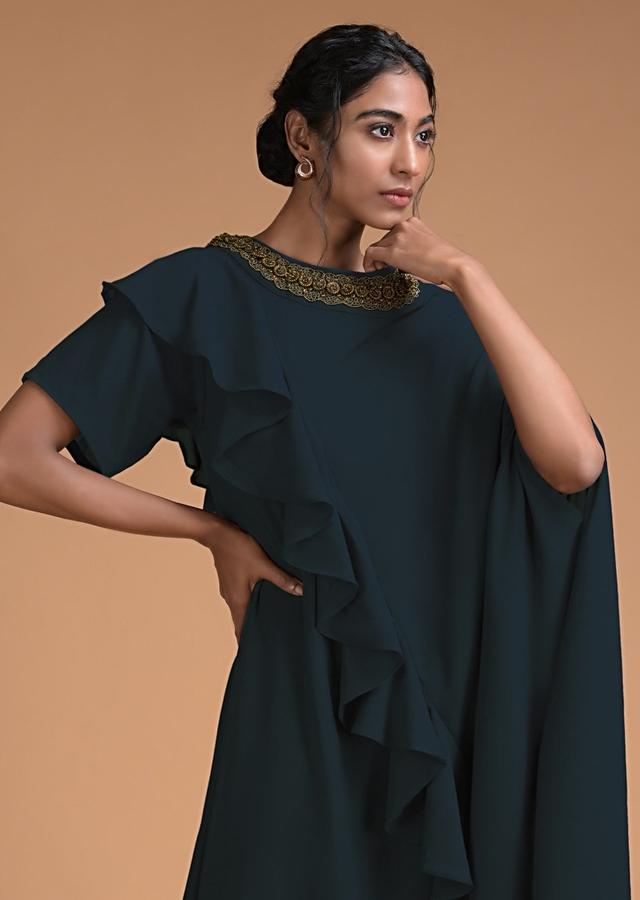 Dark Teal Fancy Kaftan Tunic With Frill And Cowl Details Online - Kalki Fashion