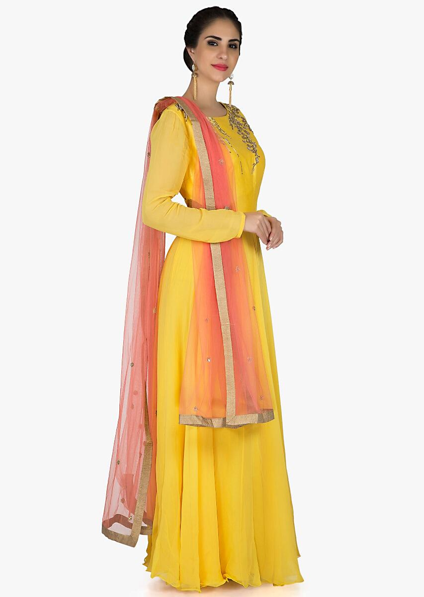 33e616f95a Yellow anarkali suit in georgette with french knot embroidery only on Kalki