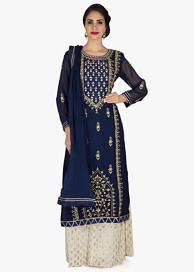Navy Blue And Peach Straight Palazzo Suit In Gotta Patch And Zardosi Embroidery Online - Kalki Fashion