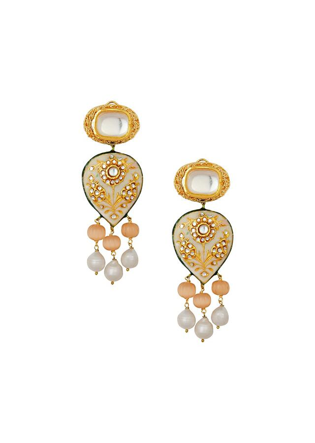 Dazzling Kundan Earrings With Floral Enamel Work, Baroque Pearls And Glazed Peach Quartz Online - Joules By Radhika
