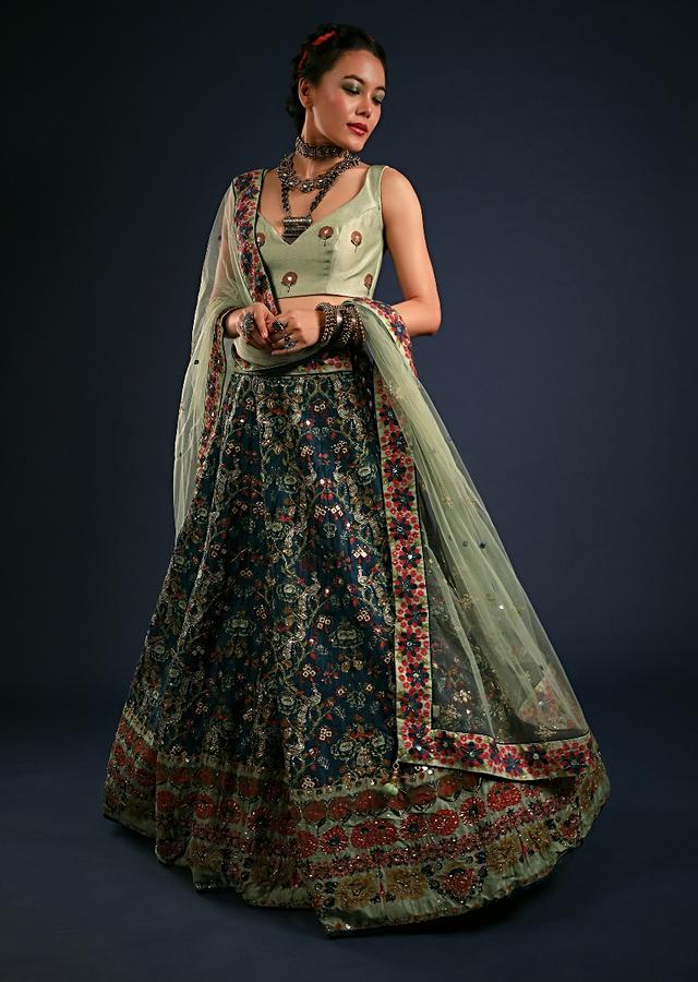 Deep Blue Lehenga In Silk With Printed Bird And Floral Motifs Along With Mirror Abla And Zari Highlights Online - Kalki Fashion