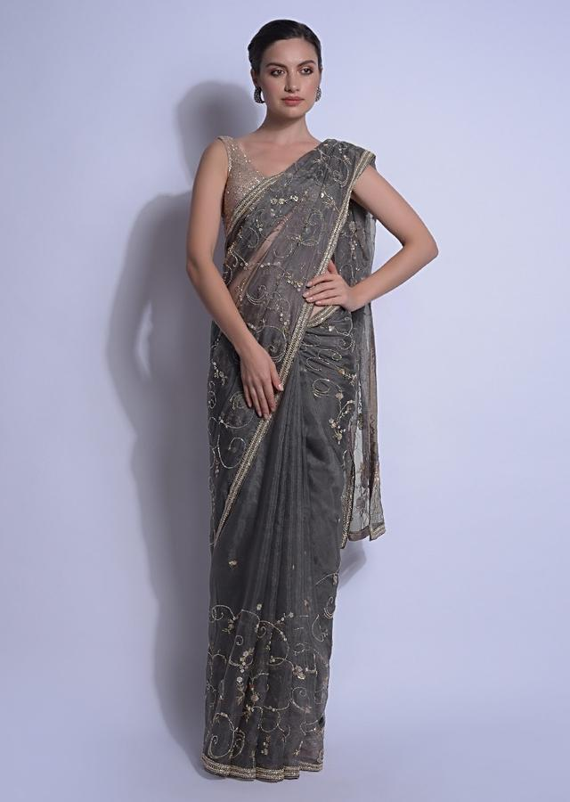 Deep Creek Grey Saree Embellished With Sequins And Cut Dana In Floral Pattern Online - Kalki Fashion