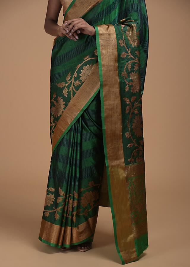 Deep Green Pure Handloom Saree In Tussar Silk With Stripes And Woven Floral Border Online - Kalki Fashion
