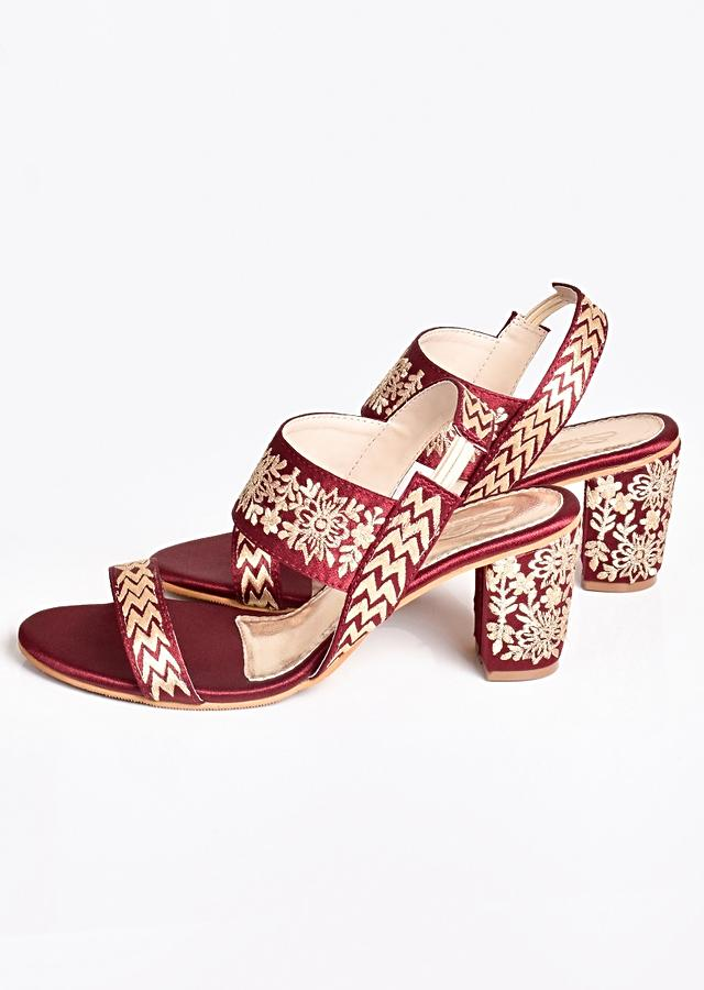 Deep Maroon Heels In Heavy Satin With Gold Zari Embroidery By Sole House