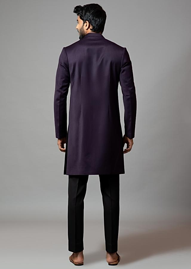 Deep Purple Achkan Set In Suiting Fabric With Rose Embroidery And Velvet Detailing By Smriti Apparels