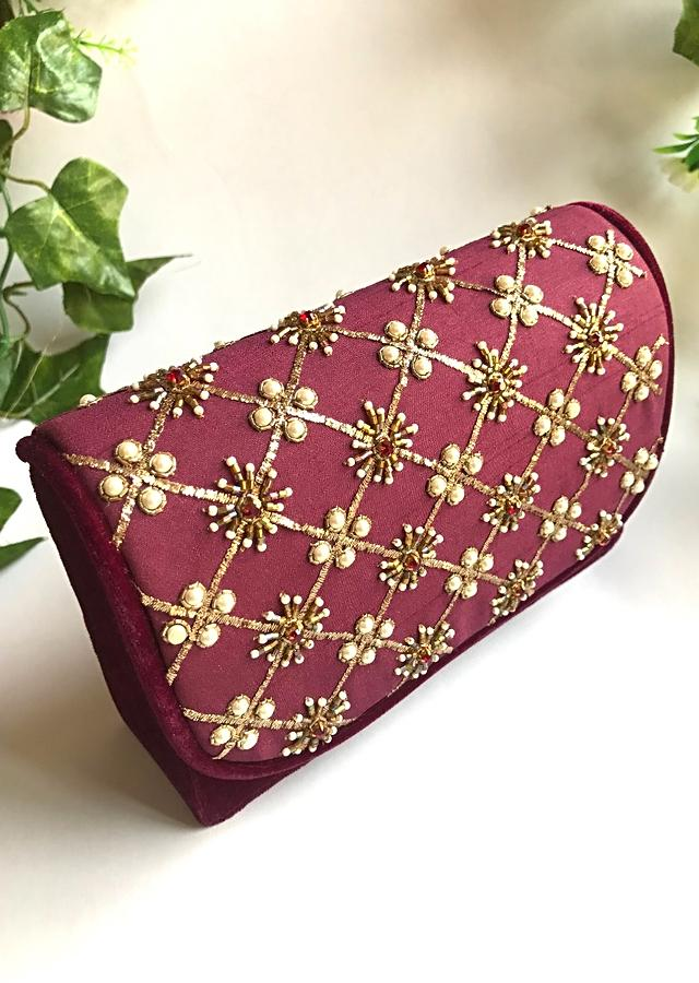 Deep Purple Clutch In Raw Silk With Nakshi And Moti Embroidered Jaal Design By Sole House