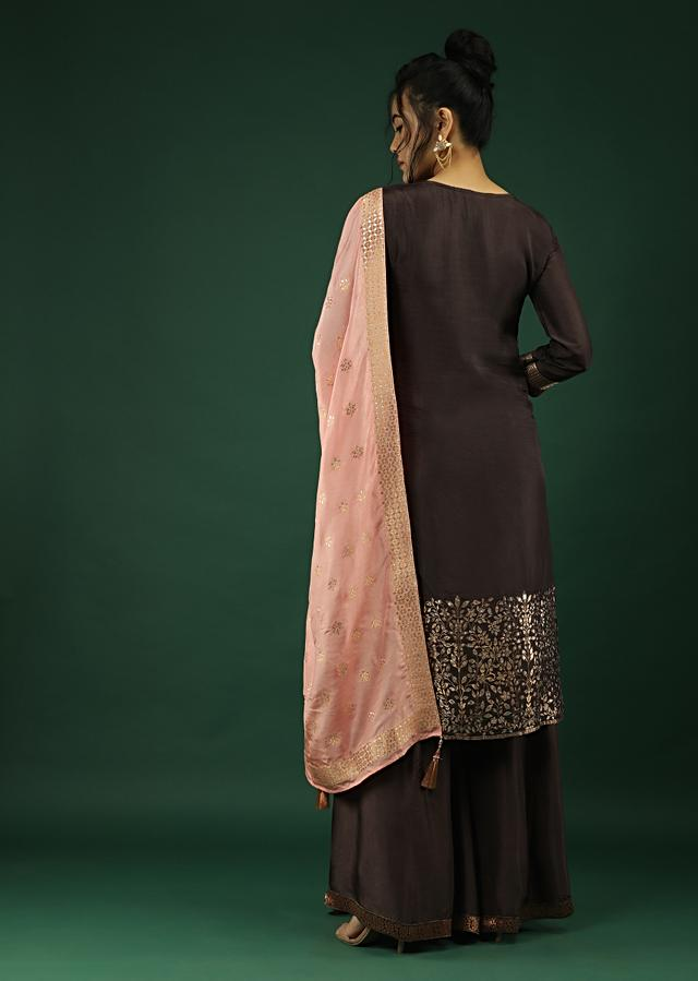 Deep Purple Palazzo Suit In Silk With Brocade Floral Buttis And Matching Pink Brocade Dupatta Online - Kalki Fashion