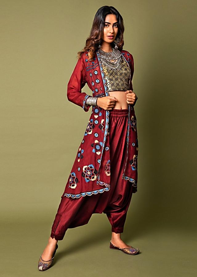 Deep Red Crop Top And Cowl Pants Set With Ajrakh Print And A Mandala Aari Embroidered Jacket Online - Kalki Fashion