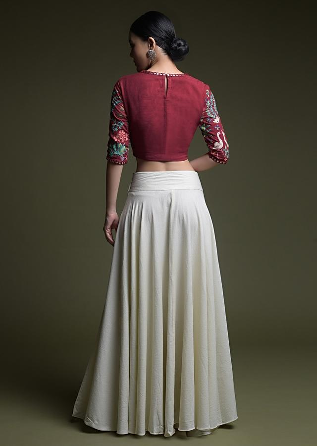 Deep Red Crop Top With Kashmiri Hand Embroidery And Contrasting Off White Skirt Online - Kalki Fashion