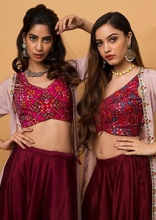 Deep Red Palazzo Pants With Turquoise Patola Crop Top And Blush Pink Jacket Online - Kalki Fashion