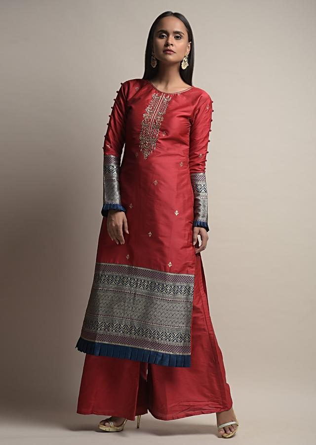 Deep Red Palazzo Suit In Silk With Woven Floral Buttis And Dark Blue Brocade Border Along With Zardosi Detailing Online - Kalki Fashion