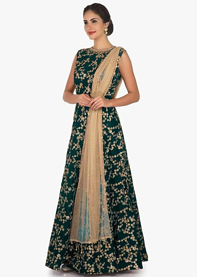 Green Suit In Raw Silk Embellished With Zari And Mirror Embroidery Work Online - Kalki Fashion