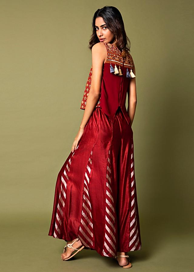 Deep Red Top And Paneled Sharara Pants With Thread Embroidery And Tassel Detailing Online - Kalki Fashion